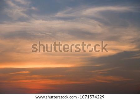 Vanilla Sky or sunrise sky at the beach  #1071574229