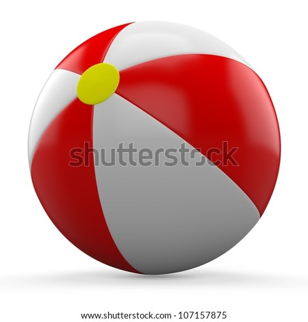 3D Red and white beach ball isolated on white background. #107157875