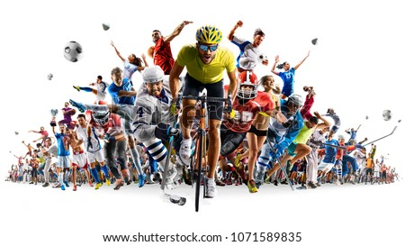 Grand sports collage soccer basketball hockey baseball american football  isolated on white Royalty-Free Stock Photo #1071589835