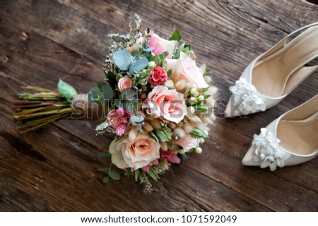 bridal flower and bridal shoes #1071592049