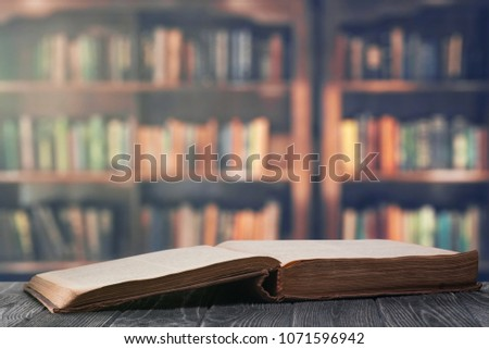 An open book in the library #1071596942