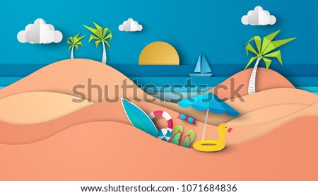 Sea view in summer with water play equipment placed on the beach. view of the blue sea. summer time. sea with beach. paper cut and craft style. vector, illustration.