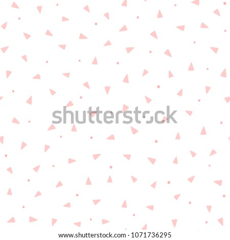 Repeating pink triangles and round dots on white background. Cute geometric seamless pattern. Endless girlish print. Girly vector illustration.