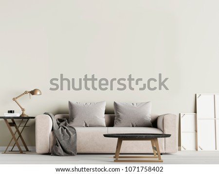 Livingroom interior wall mock up with fabric sofa and pillows on olive background. 3d rendering. #1071758402