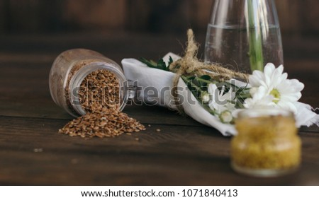 Rustic food is made on an old wooden background. It can be used for menus or advertisements.  #1071840413