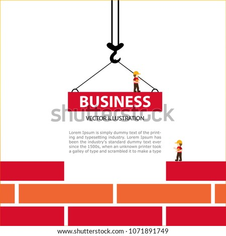Bright illustration on the theme of Building. The crane hook lowers down the red brick blocks. Template construction sites or other projects. Blank space for text. #1071891749