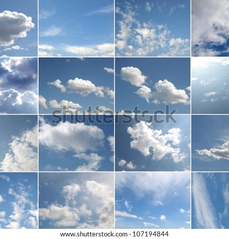 Collage of many different blue skies with white clouds #107194844