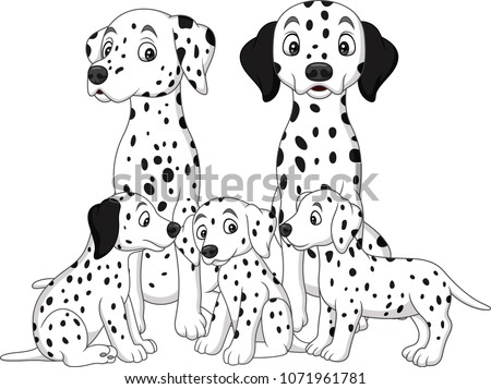 Family of Dalmatian dogs