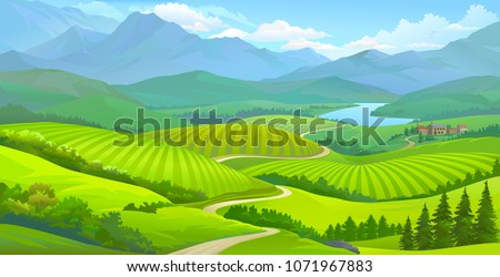Landscape view of green meadows, mountains and a small town next to a river.  Royalty-Free Stock Photo #1071967883