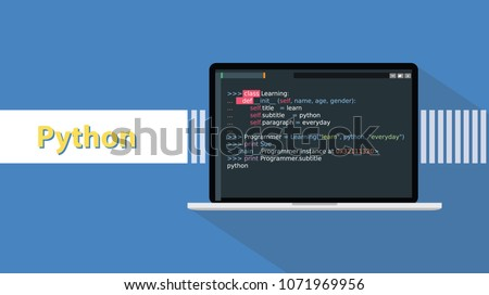 python programming language with example code on screen text