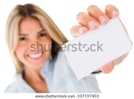 Woman holding a personal contact card - isolated over a white background
