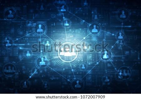 2d illustration Business Network   #1072007909