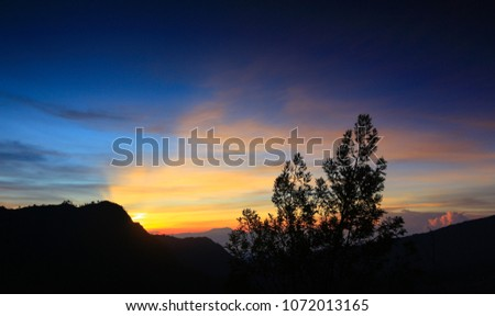 Beautiful sunrise at Seruni Point, Bromo, Semeru National Park, East Java, Indonesia.