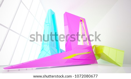 Abstract white and colored gradient  interior multilevel public space with window. 3D illustration and rendering. #1072080677