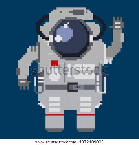 Vector illustration cosmonaut in pixel art