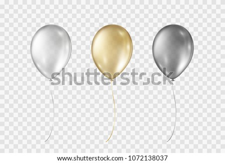 Balloons isolated on transparent background. Glossy gold, silver, black festive 3d helium ballons. Vector realistic translucent golden baloons mockup for anniversary, birthday party design