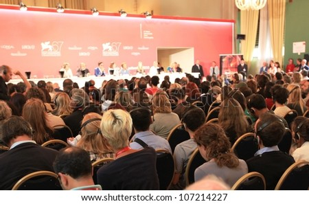 VENICE, ITALY - SEPTEMBER 04: People at press conference during 67th Venice Film Festival September 04, 2010 in Venice, Italy. #107214227