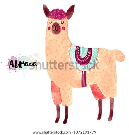 Cute illustration. Watercolor animal drawing. Llamas or alpacas clip-art.