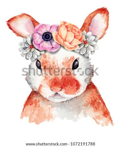 Watercolor rabbit portrait with flower wreath. Springtime theme
