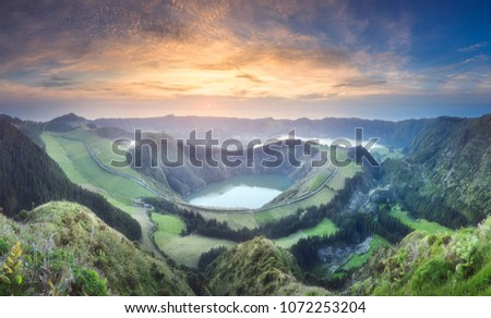 Mountain landscape of crater with hiking trail and view of beautiful lakes Ponta Delgada, Sao Miguel Island, Azores, Portugal. #1072253204
