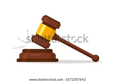 Judge Wood Hammer auction, judgment. Wooden judge ceremonial hammer of the chairman with curly handle, for adjudication of sentences and bills, court, justice, with a wooden stand.