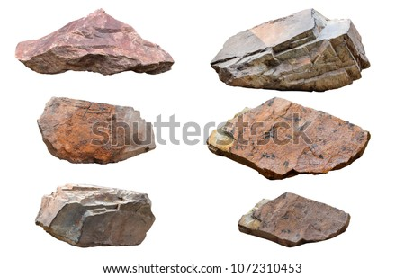 Set of stones isolated on white background.Total big granite rock stone,group stone isolated on white background.rock stone isolated on white background. #1072310453