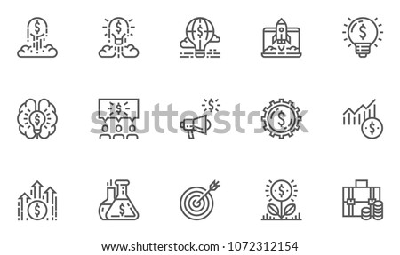 Startup Vector Line Icons Set. Launching a New Business, Access to The Market, Investment Portfolio. Editable Stroke. 48x48 Pixel Perfect.