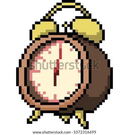 vector pixel art alarm clock isolated cartoon