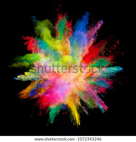 Abstract colored powder explosion isolated on black background. High resolution texture #1072343246
