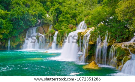 The magical waterfalls of Krka National Park, Split. An incredible place to visit near Split. #1072351286