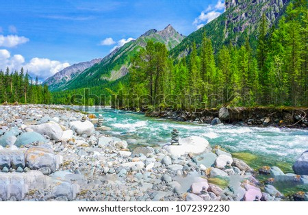 Wild mountain river shore landscape. Mountain river panorama. River valley in mountains #1072392230