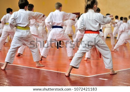 Kids training on karate-do. Banner with space for text. For web pages or advertising printing. Photo without faces, from the back. Royalty-Free Stock Photo #1072421183