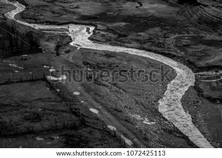 BW landscape around Ananuri castle in winterat sunny day, Georgia #1072425113