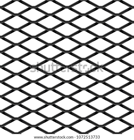 Black chrome Steel Grating seamless structure. Chainlink isolated on white background.  Vector illustration. EPS 10. #1072513733