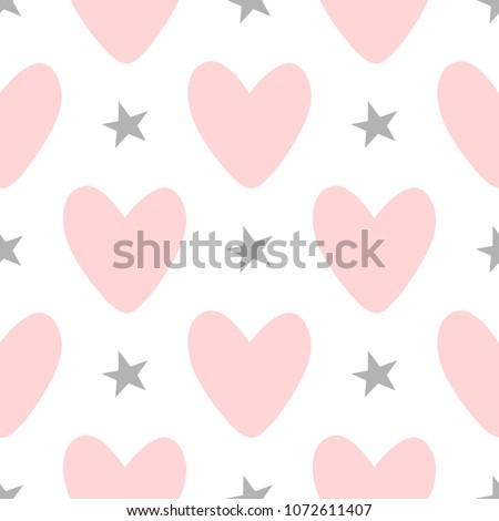 Repeating hearts and stars drawn by hand. Cute seamless pattern. Endless girlish print. Girly vector illustration.