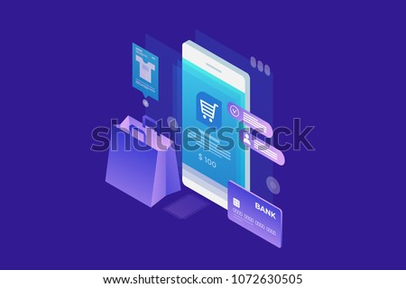Concept of online shop, online shopping. Isometric image of phone, Bank card and shopping bag on blue background. 3d flat design. Vector illustration. #1072630505