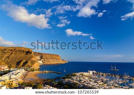 view of Puerto de Mogan bay, Gran Canaria, Spain Royalty-Free Stock Photo #107265539