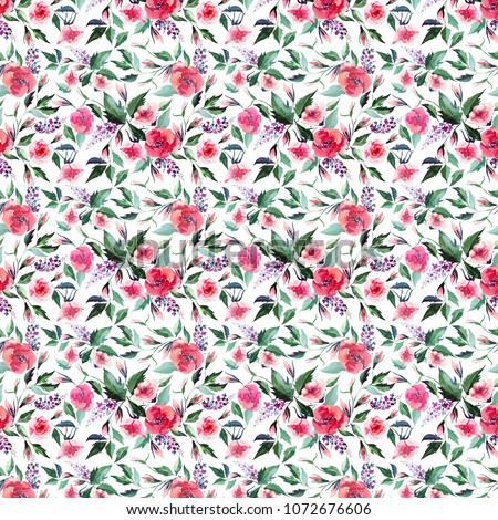 Floral tender beautiful bright elegant wonderful colorful tender gentle pink spring herbal wildflowers rose lilac with buds and green leaves pattern watercolor hand illustration #1072676606