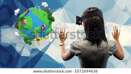 Digital composite of Rear view of businesswoman wearing VR glasses with low poly earth in background #1072694636