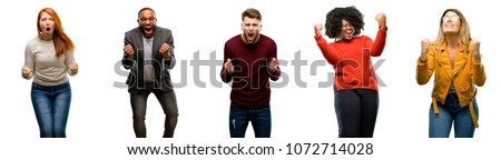 Group of cool people, woman and man happy and excited celebrating victory expressing big success, power, energy and positive emotions. Celebrates new job joyful Royalty-Free Stock Photo #1072714028