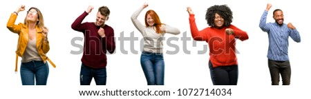Group of cool people, woman and man happy and excited expressing winning gesture. Successful and celebrating victory, triumphant #1072714034