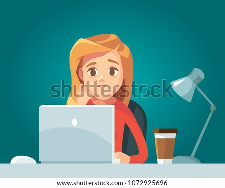 Sad girl woman freelancer working telecommuting with laptop siting at workplace teleworking. Telework mobile remote work working from home, WFH, flexible workplace. Vector illustration