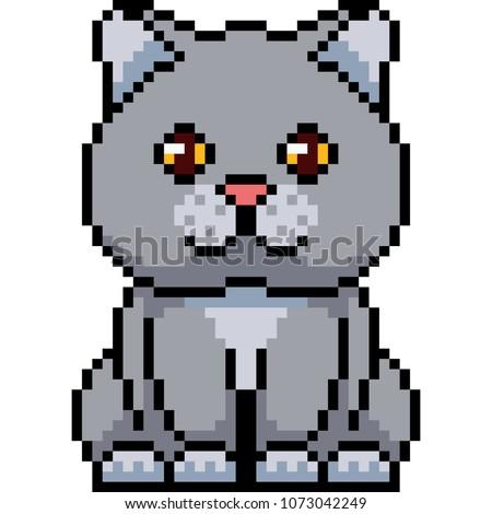 vector pixel art cat sit isolated cartoon