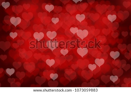 Valentine's day background with red heart bokeh lights #1073059883
