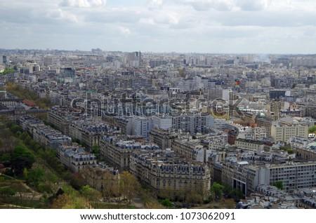 Paris, France - April 16 2018: Aerial view of Paris, April 16 2018 in Paris, France #1073062091
