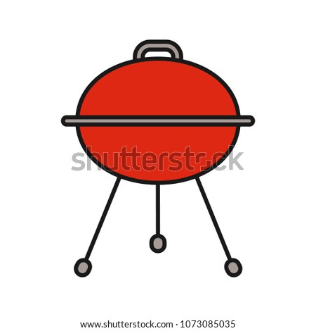 Kettle barbecue grill color icon. Isolated raster illustration