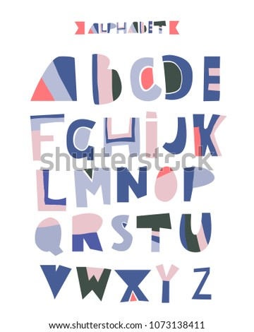 Hand drawn Alphabet. Geometric funny font. Colorful vector letters.Letters for birthday, holidays greeting.Vector #1073138411