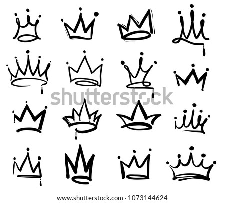 Crown logo graffiti icon. Black elements isolated on white background. Vector illustration.