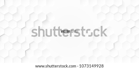 Abstract. Embossed Hexagon , honeycomb white Background ,light and shadow ,Vector  Royalty-Free Stock Photo #1073149928
