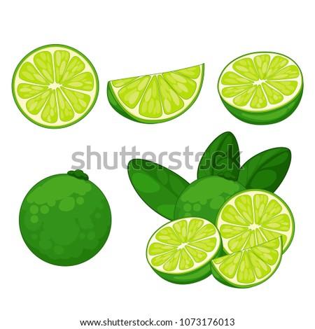 lime isolated set, slice, cut #1073176013